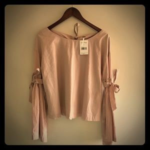 Free People Long Sleeve Blouse size L, Ballet Pink